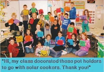Students create pot holders for solar cooks